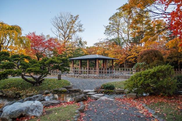 Herbstlandschaft am nakajima-park, sapporo-stadt, japan.