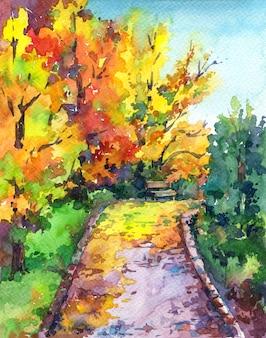Herbstlandschaft - bunte parkgasse mit bäumen, blättern und bank.