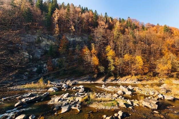 Herbstlandschaft dunkelblaues wasser letzte warme tage