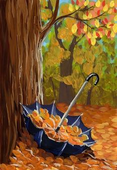 Herbstlandschaft gelbe bäume blätter regen windiges wetter gelbe landschaft regenschirm mit blättern