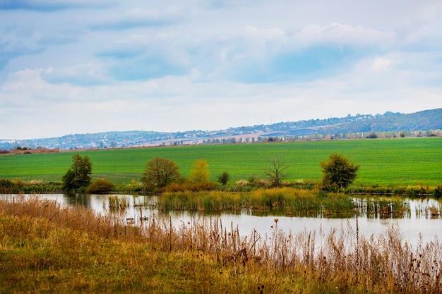Herbstlandschaft mit fluss und feld. bauernfeld im herbst mit winterweizen