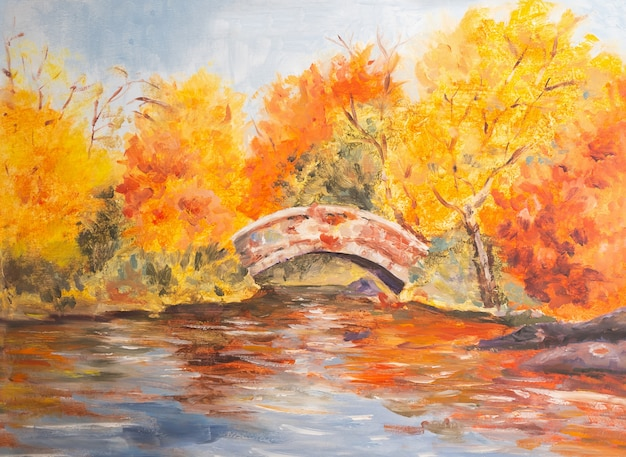 Herbstlandschaft mit gelben und orangefarbenen blättern in der nähe der brücken- und flussaquarellillustration