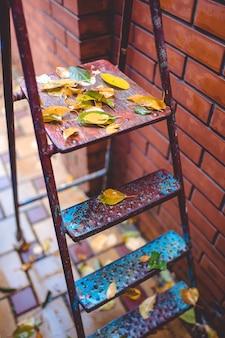 Herbstlaub auf der gartenmetallleiter. herbst hintergrund.