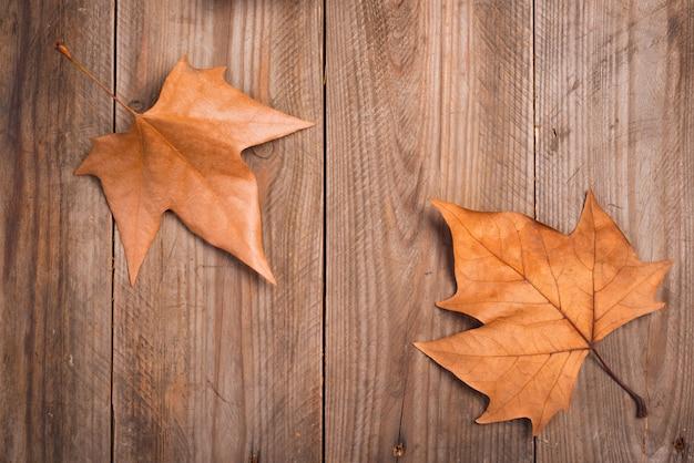 Herbstlaub auf einem hölzernen hintergrund