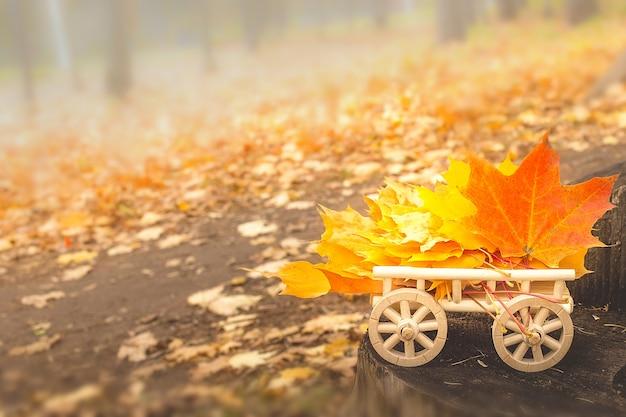 Herbstlaub auf einem hölzernen warenkorb. weicher selektiver fokus