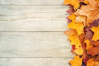 Herbstlaub auf hölzernem Hintergrund. Selektiver Fokus