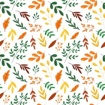 Herbstlaub auf weißem hintergrund nahtlose muster herbst botanischer wiederholungsdruck