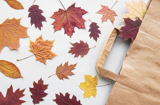 Herbstlaub und tasche