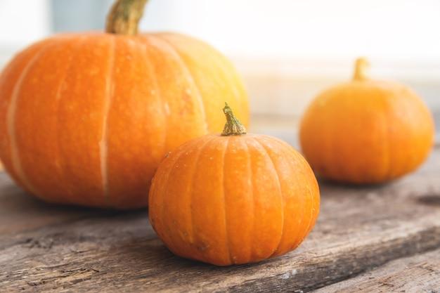 Herbstlicher hintergrund natürliche herbstfallansicht kürbisse auf holzhintergrund inspirierend oktober oder ...