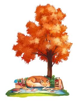Herbstpicknick mit rotfuchs