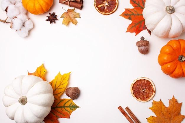 Herbstrahmen mit dekorativen kürbissen und herbstlaub auf weißem hintergrund. flat-lay-stil