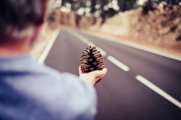 Herbstsaison - frau im alter von alten senioren, die einen tannenzapfen mit langer gerader asphaltstraße nehmen. wald- und bergreisekonzept die natur spüren und kontaktieren