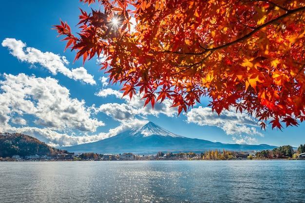 Herbstsaison und fuji-berg am kawaguchiko-see, japan.