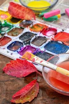 Herbststillleben mit aquarell