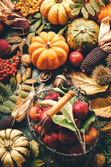 Herbststillleben mit kürbissen, äpfeln und blättern auf altem holz