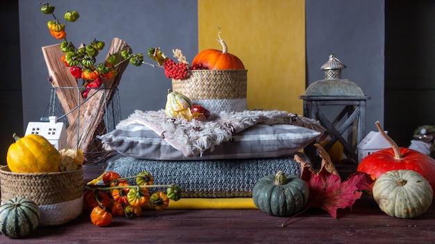 Herbststillleben mit kürbissen und plaids