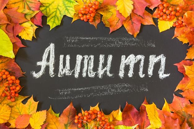 Herbstthema mit ahornblättern.