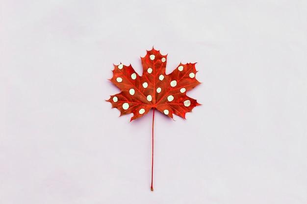Herbstzusammensetzung des kreativen getrockneten blattahorns gemalt mit tupfen auf hellem hintergrund.