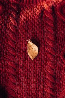Herbstzusammensetzung des roten wollpullovers mit blatt