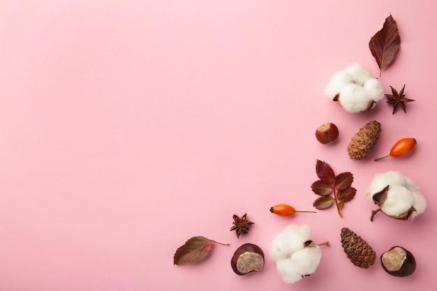 Herbstzusammensetzung. getrocknete blätter, blumen, beeren auf rosa hintergrund. thanksgiving day-konzept. flache lage, ansicht von oben, kopienraum