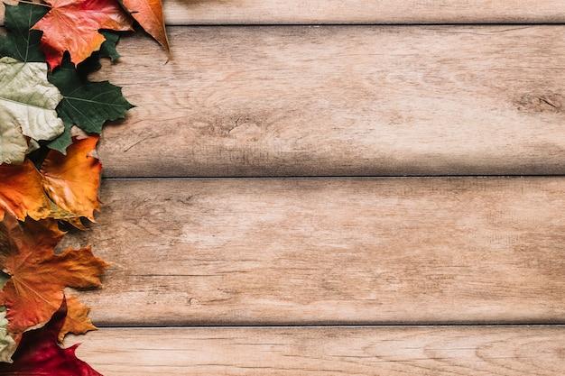 Herbstzusammensetzung mit ahornblättern auf hölzernem hintergrund