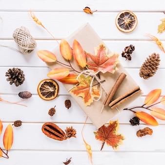Herbstzusammensetzung mit Geschenk auf weißem Hintergrund