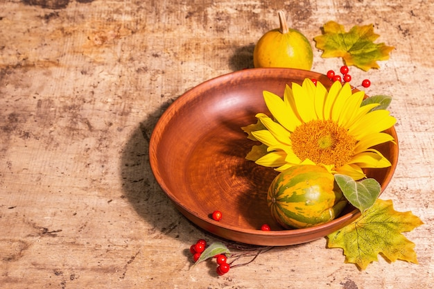 Herbstzusammensetzung. tischdekoration, sonnenblumen, rote beeren und kürbisse. festlicher hintergrund für gute laune, kopienraum