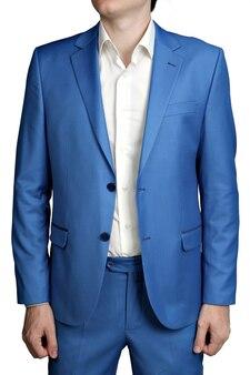 Herrenanzug der hellblauen jacke der modernen mode, zwei knöpfe aufgeknöpft, lokalisiert auf einem weißen hintergrund.