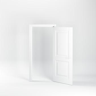 Hervorragend geöffnete weiße tür