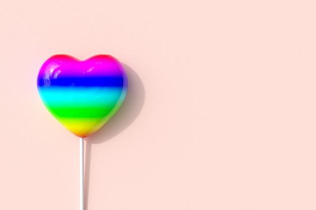 Hervorragende bunte farbe herzform des süßigkeitenlutschers auf rosa hintergrund. 3d-rendering. minimale valentinstag-konzept-idee.