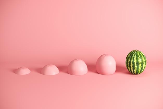 Hervorragende frische wassermelone und scheiben der wassermelone gemalt im rosa auf rosa hintergrund