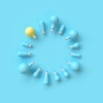 Hervorragende gelbe glühbirne unter blauen glühbirne mit kreisform