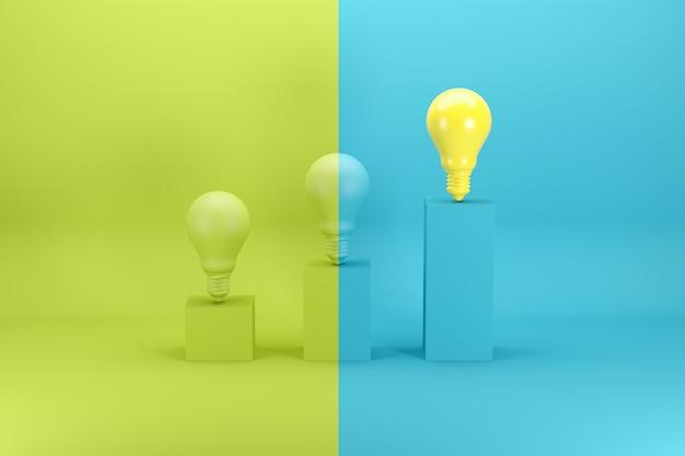 Hervorragende leuchtend gelbe glühbirne auf dem höchsten balkendiagramm in grün und blau