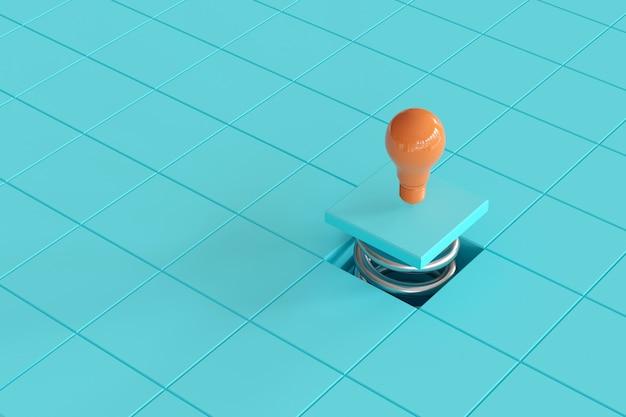 Hervorragende orangefarbene glühbirnenfarbe, die auf einer chromfeder mit blauem gitter schwimmt minimale konzeptionelle idee. 3d-rendering
