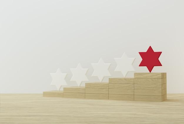 Hervorragende rote sternform auf holzstöcken. das beste rating für exzellente unternehmensdienstleistungen für das kundenerlebnis