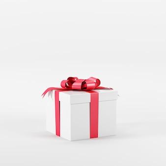 Hervorragende weiße geschenkbox mit roter schleife