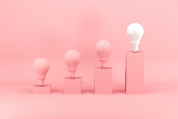 Hervorragende weiße glühlampe unter rosa glühlampen auf balkendiagramm auf rosa