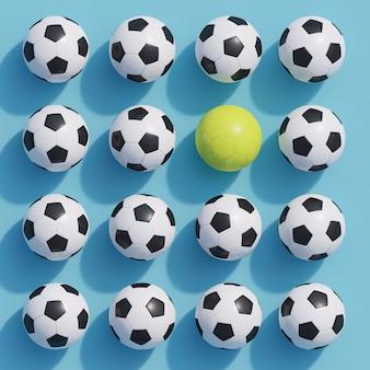 Hervorragender gelber fußball unter weißem fußball auf blau
