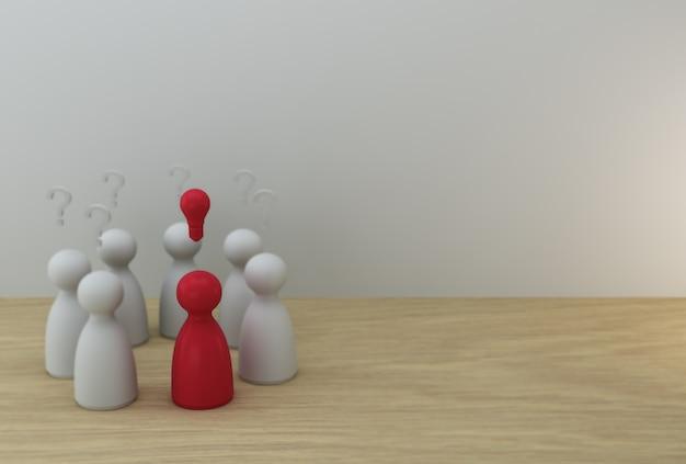 Hervorragendes rotes leutemodell mit glühlampeikone und fragezeichensymbol. kreative idee und innovation. personal- und talentmanagement
