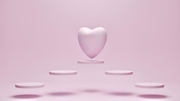 Herz auf fliegendem geometrischem mit rosa farbhintergrund. mutter, valentinstag, geburtstagskonzept, 3d-rendering.