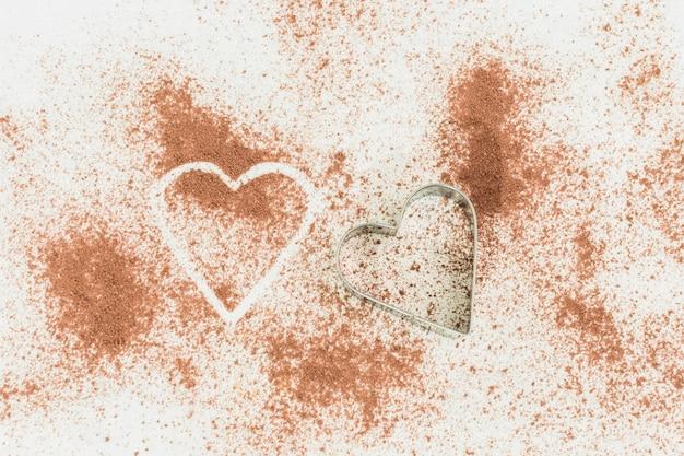 Herz auf kakaopulver
