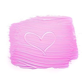 Herz auf rosa verschmierter farbe