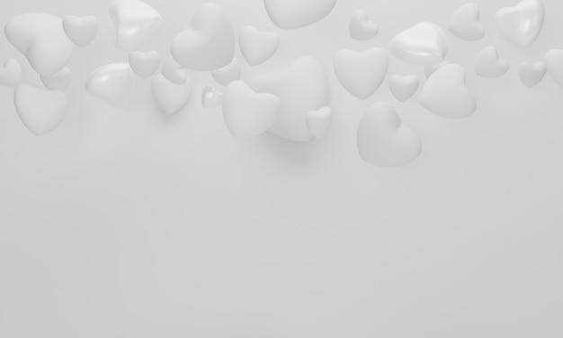 Herz auf weißem hintergrund für glückliches frauen-, mutter-, valentinstagkonzept. 3d-rendering