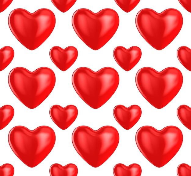 Herz auf weißem hintergrund. nahtlose textur. isolierte 3d-darstellung