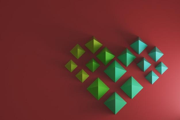 Herz aus pyramiden mit verlaufsfarben