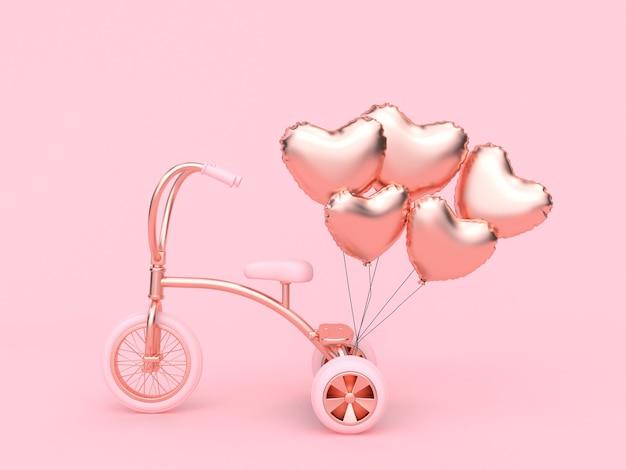 Herz-ballon des rosa dreiradfahrrades, das liebe-valentinsgrußkonzept der wiedergabe 3d überträgt