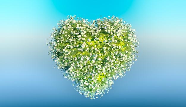Herz der weißen blumen auf himmelhintergrund. 3d rendern