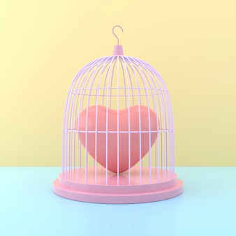 Herz im vogelkäfig. 3d-rendering.