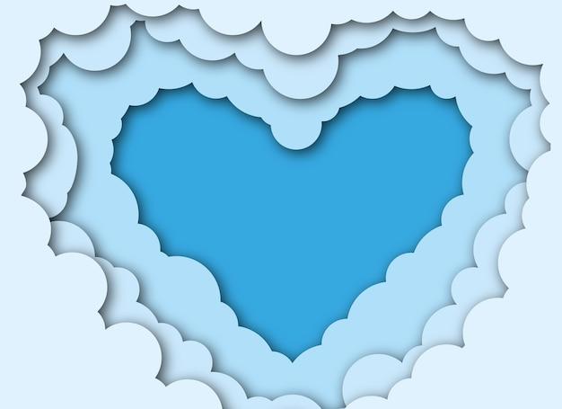 Herz in den wolken im papierschnittstil