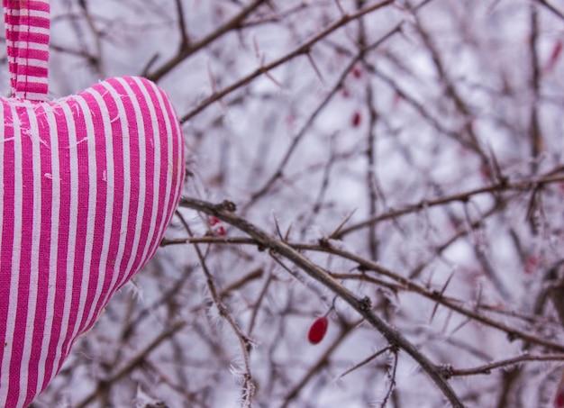 Herz in form von kissen im frost.
